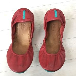 Tieks sz 8 Red Leather Folding Ballet Flats stains